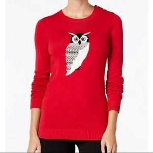 Charter Club Owl Graphic Res Sweater Sz SP